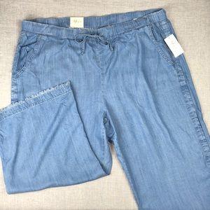 Style & Co Sunwashed Denim Wide Leg Pants Sz 22W